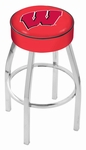 University of Wisconsin 25'' Chrome Finish Swivel Backless Counter Height Stool with 4'' Thick Seat [L8C125WISC-W-FS-HOB]