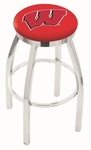 University of Wisconsin 25'' Chrome Finish Swivel Backless Counter Height Stool with Accent Ring [L8C2C25WISC-W-FS-HOB]