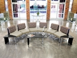 UNO Series Semi-Circle Package - Blue Jay Taupe Chairs and Asian Night Top Table [PKG-LNGE-01-0002-MFO]