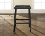 Upholstered Saddle Seat Bar Stool in Black Finish with 29'' Seat Height - Set of 2 [CF500229-BK-FS-CRO]