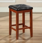 Upholstered Square Seat Bar Stool in Classic Cherry Finish with 24'' Seat Height - Set of 2 [CF500524-CH-FS-CRO]