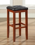 Upholstered Square Seat Bar Stool in Classic Cherry Finish with 29'' Seat Height - Set of 2 [CF500529-CH-FS-CRO]