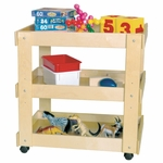 Children's Healthy Kids Plywood Mobile Utility Cart with Shelves - Assembled - 31''W x 20''D x 31''H [13300-WDD]