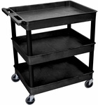 Heavy Duty Multi-Purpose Large Mobile Tub Utility Cart with 3 Tub Shelves - Black - 32''W x 24''D x 38.25''H [TC111-B-FS-LUX]
