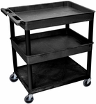 Heavy Duty Multi-Purpose Large Mobile Utility Cart with 1 Flat Bottom Shelf and 2 Tub Shelves - Black - 32''W x 24''D x 36.5''H [TC112-B-FS-LUX]