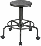Adjustable Height Utility Stool with Footrest - Black [DC207A-FS-ALV]