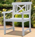 Bradley Outdoor Curved Small X Back Arm Chair with Contour Slat Seat - White [V1341-FS-VIF]