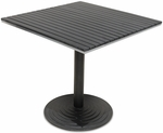 Nevada 24'' Square Black Durawood Table Top with Valencia Round Dining Table Base - Black [SC-1401-588-SC-2401-402-NEV-BLK-SCON]