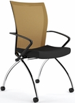 Valore High-Back Training Chair with Black Fabric Seat - Set of Two - Orange Mesh Back [TSH1BO-FS-MAY]