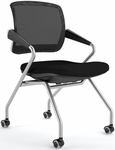 Valore Mid-Back Training Chair with Black Fabric Seat - Set of Two - Black Mesh Back [TSM2BB-FS-MAY]