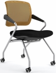Valore Mid-Back Training Chair with Black Fabric Seat - Set of Two - Orange Mesh Back [TSM2BO-FS-MAY]