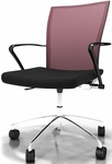 Valore Height Adjustable Task Chair with Black Fabric Seat- Red Mesh Back [TSH3BR-FS-MAY]