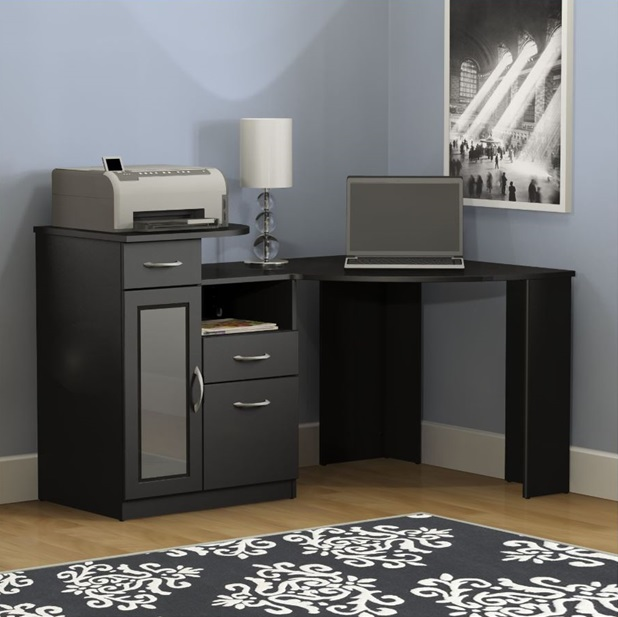 vantage corner desk black finish hm66915a03 by bush home furniture bizchaircom - Bush Office Furniture