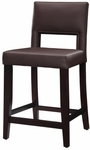 Vega 24''H Counter Stool - Dark Espresso and Brown Vinyl [14053VESP-01-KD-U-FS-LIN]
