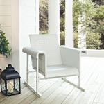 Veranda Single Glider Chair in Alabaster White [CO1005A-WH-FS-CRO]