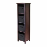 Verona 4-Tier Narrow Shelf with Black Baskets [94261-FS-WWT]