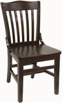 Vertical Slat Back Solid Wood Side Chair - Dark Mahogany Finish [930-SWS-DM-SAT]
