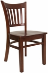 Vertical Slat Chair with Wood Seat in Mahogany Finish [8242-M-M-HND]