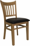 Vertical Slat Chair with Natural Finish and Black Vinyl Seat [8242-N-BLACK-HND]