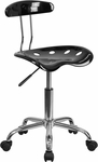 Vibrant Black and Chrome Swivel Task Chair with Tractor Seat [LF-214-BLK-GG]