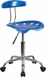 Vibrant Bright Blue and Chrome Swivel Task Chair with Tractor Seat [LF-214-BRIGHTBLUE-GG]