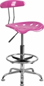 Vibrant Candy Heart and Chrome Drafting Stool with Tractor Seat