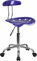 Vibrant Deep Blue and Chrome Swivel Task Chair with Tractor Seat