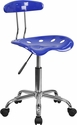 Vibrant Nautical Blue and Chrome Swivel Task Chair with Tractor Seat
