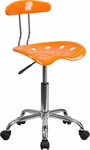 Vibrant Orange and Chrome Swivel Task Chair with Tractor Seat [LF-214-ORANGEYELLOW-GG]