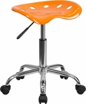 Vibrant Orange Tractor Seat and Chrome Stool [LF-214A-ORANGEYELLOW-GG]