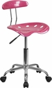 Vibrant Pink and Chrome Swivel Task Chair with Tractor Seat