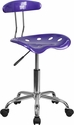 Vibrant Violet and Chrome Swivel Task Chair with Tractor Seat