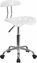 Vibrant White and Chrome Swivel Task Chair with Tractor Seat
