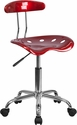 Vibrant Wine Red and Chrome Swivel Task Chair with Tractor Seat