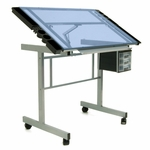 Vision Blue Tempered Glass and Steel Craft Center with Adjustable Angle Top - Silver [10053-FS-SDI]