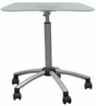Vision Height Adjustable Mobile Cart with Frosted Glass Work Top - Silver [403529-FS-SDI]