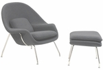 W Lounge Chair and Ottoman Set in Light Gray [EEI-113-LGR-FS-EEI]
