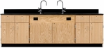 Wooden Science Workstation with 1'' Thick Black Epoxy Resin Top, 3 Locking Double Door Cabinets, and 4 Locking Drawers - 108''W x 24''D x 36''H [3226K-DW]