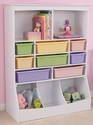 Kids Thirteen Storage Bins Wall Unit in White with Eight Pastel Color Plastic Bins