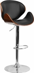 Walnut Bentwood Adjustable Height Barstool with Curved Back and Black Vinyl Seat [SD-2203-WAL-GG]