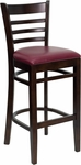 Walnut Finished Ladder Back Wooden Restaurant Barstool with Burgundy Vinyl Seat [BFDH-8241WBY-BAR-TDR]