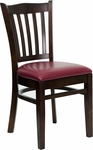 Walnut Finished Vertical Slat Back Wooden Restaurant Chair with Burgundy Vinyl Seat [BFDH-8242WBY-TDR]