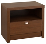 Series 9 Designer 1 Drawer 21.25''H Nightstand with Chrome Finished Metal Pulls - Cherry [LDNR-0510-1-FS-PP]