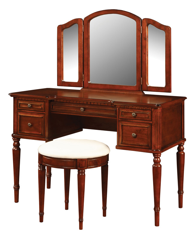 Warm cherry vanity set 429 290 by powell for Affordable furniture 290