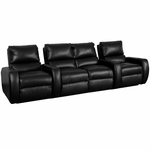 Welbourne Four Seater Home Theater - Straight Arm in Top Grain Leather with Leather Match [520-WELBOURNE-S4-FS-LTS]