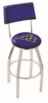 West Virginia University 25'' Chrome Finish Swivel Counter Height Stool with Cushioned Back [L8C425WESTVA-FS-HOB]