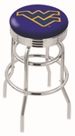 West Virginia University 25'' Chrome Finish Double Ring Swivel Backless Counter Height Stool with Ribbed Accent Ring [L7C3C25WESTVA-FS-HOB]