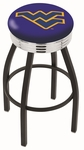 West Virginia University 25'' Black Wrinkle Finish Swivel Backless Counter Height Stool with Ribbed Accent Ring [L8B3C25WESTVA-FS-HOB]