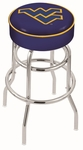 West Virginia University 25'' Chrome Finish Double Ring Swivel Backless Counter Height Stool with 4'' Thick Seat [L7C125WESTVA-FS-HOB]