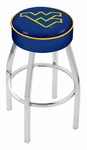West Virginia University 25'' Chrome Finish Swivel Backless Counter Height Stool with 4'' Thick Seat [L8C125WESTVA-FS-HOB]